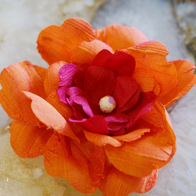 Coral Orange and Pink Silk Camellia Hair Flower