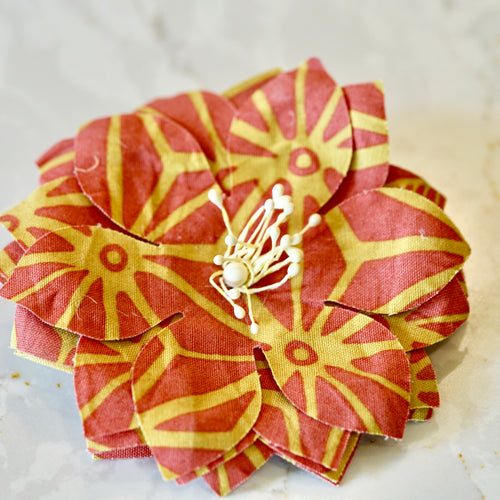 Coral and Yellow Graphic Print Stripe Lotus Hair Flower