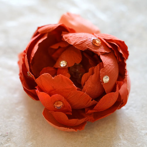 Coral Camellia Silk Hair Bloom Clip