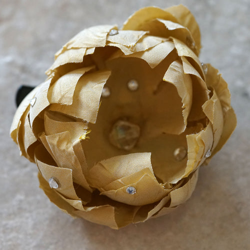 Beige Silk Swarovski Bloom Hair Flower