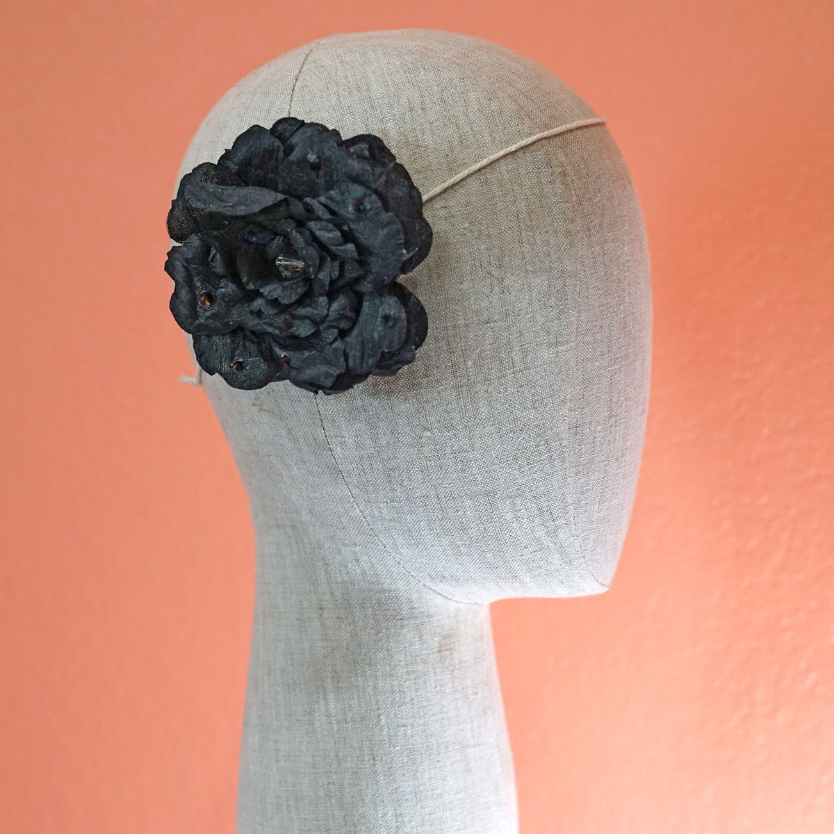 Black Swarovski Silk Rose Bloom Hair Flower