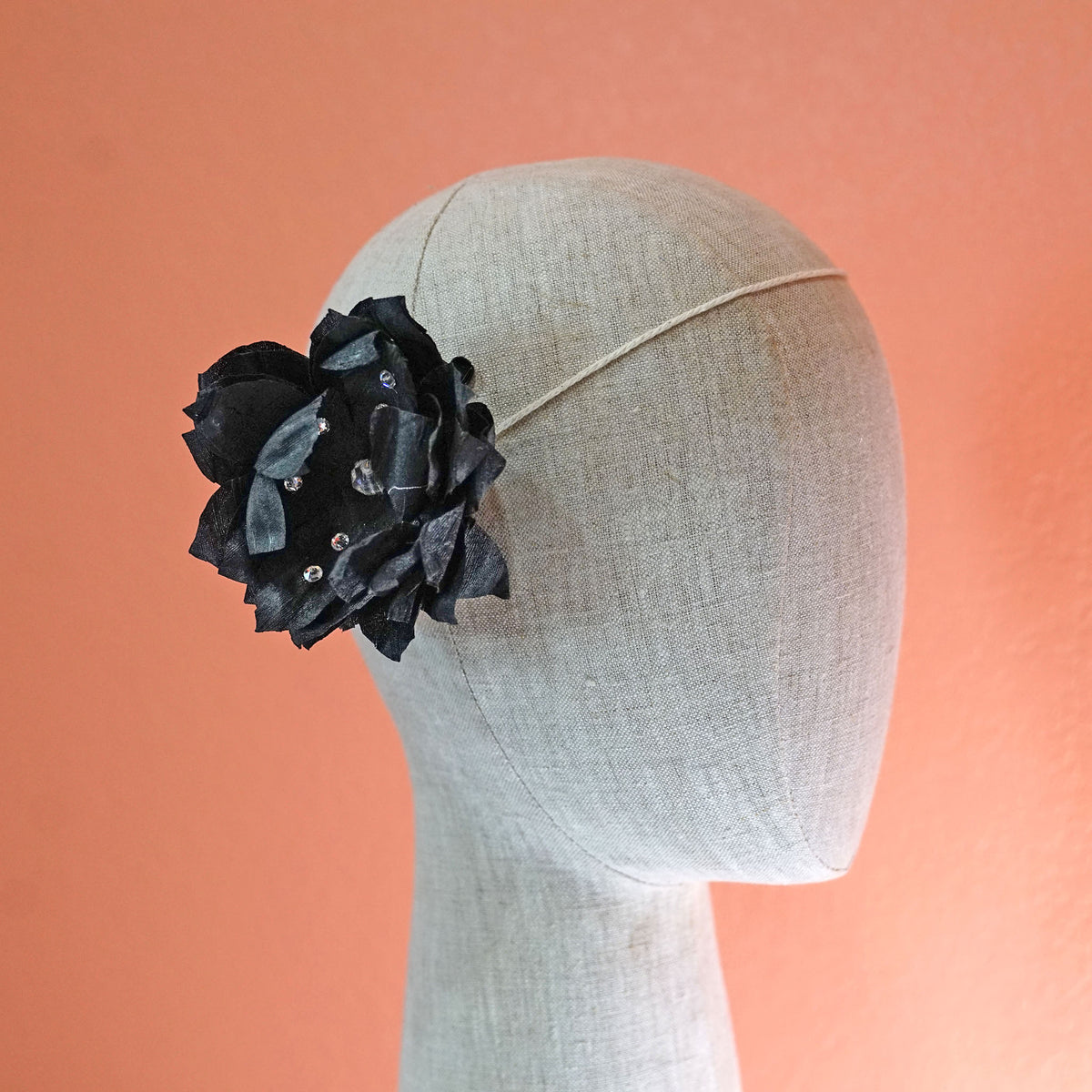 Black Silk Swarovski Bloom Hair Flower