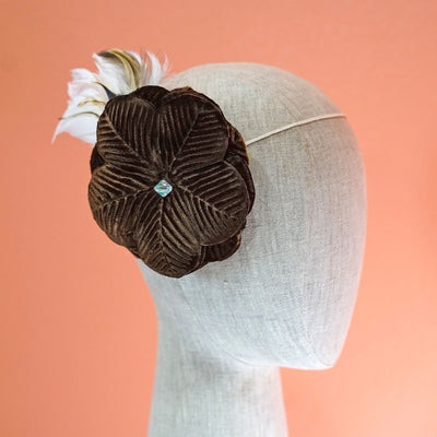 Brown Feather Flower Clip On