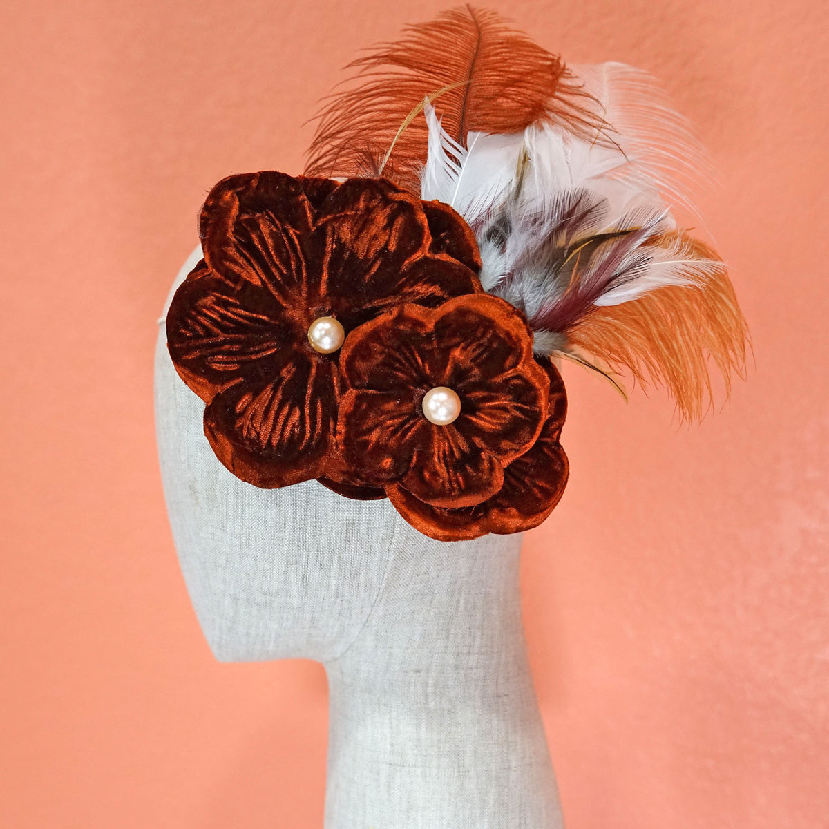 Large Burgundy Feather Hair Flower Mannequin