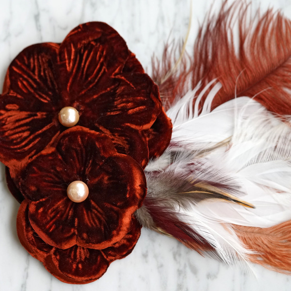 Large Burgundy Feather Hair Flower Front