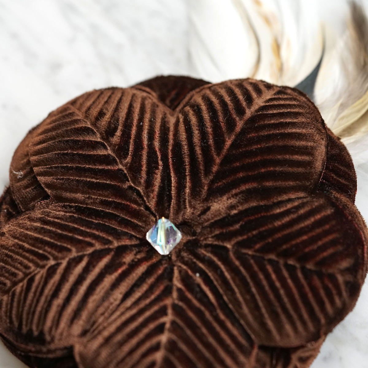 Brown Feather Flower Clip Close