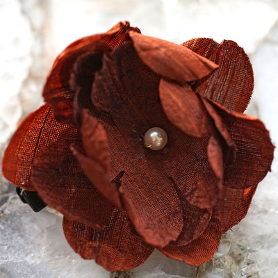 Burgundy Red Silk Bloom Hair Flower