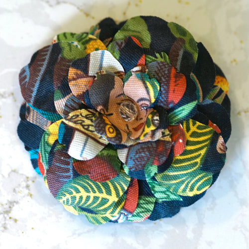 Frida Khalo Print Premium Cotton Bloom Hair Flower