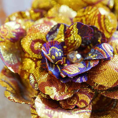 Gold and Red Chinese Silk Brocade Hair Flower