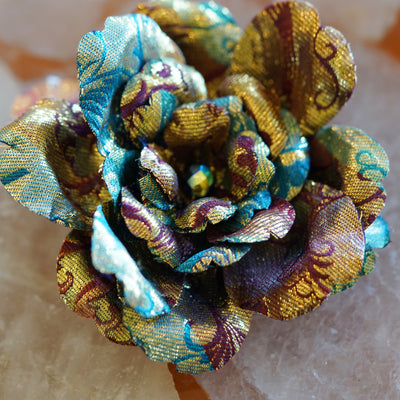 Gold, Blue and Red Print Silk Brocade Camellia Hair Flower