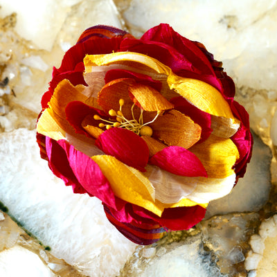 Gold, Pink, & White Silk Bloom Hair Flower