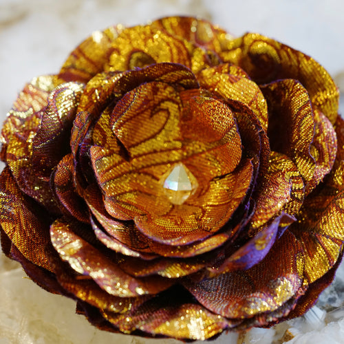 Gold and Red Chinese Silk Brocade Bloom Hair Flower