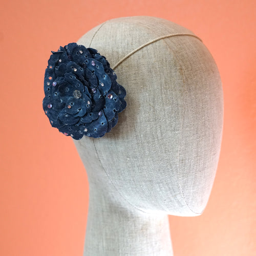 Blue Jean Eyelet Camellia Swarovski Bloom Hair Flower
