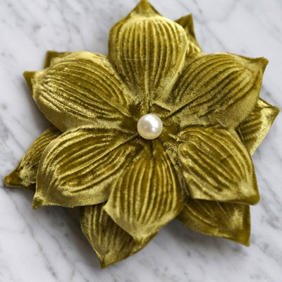 Lime Green Star of Bethlehem Velvet Lily Flower Hair Clip
