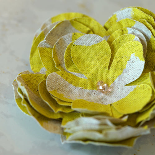 Minimalist Lime Green Stipe Premium Cotton Hair Flower