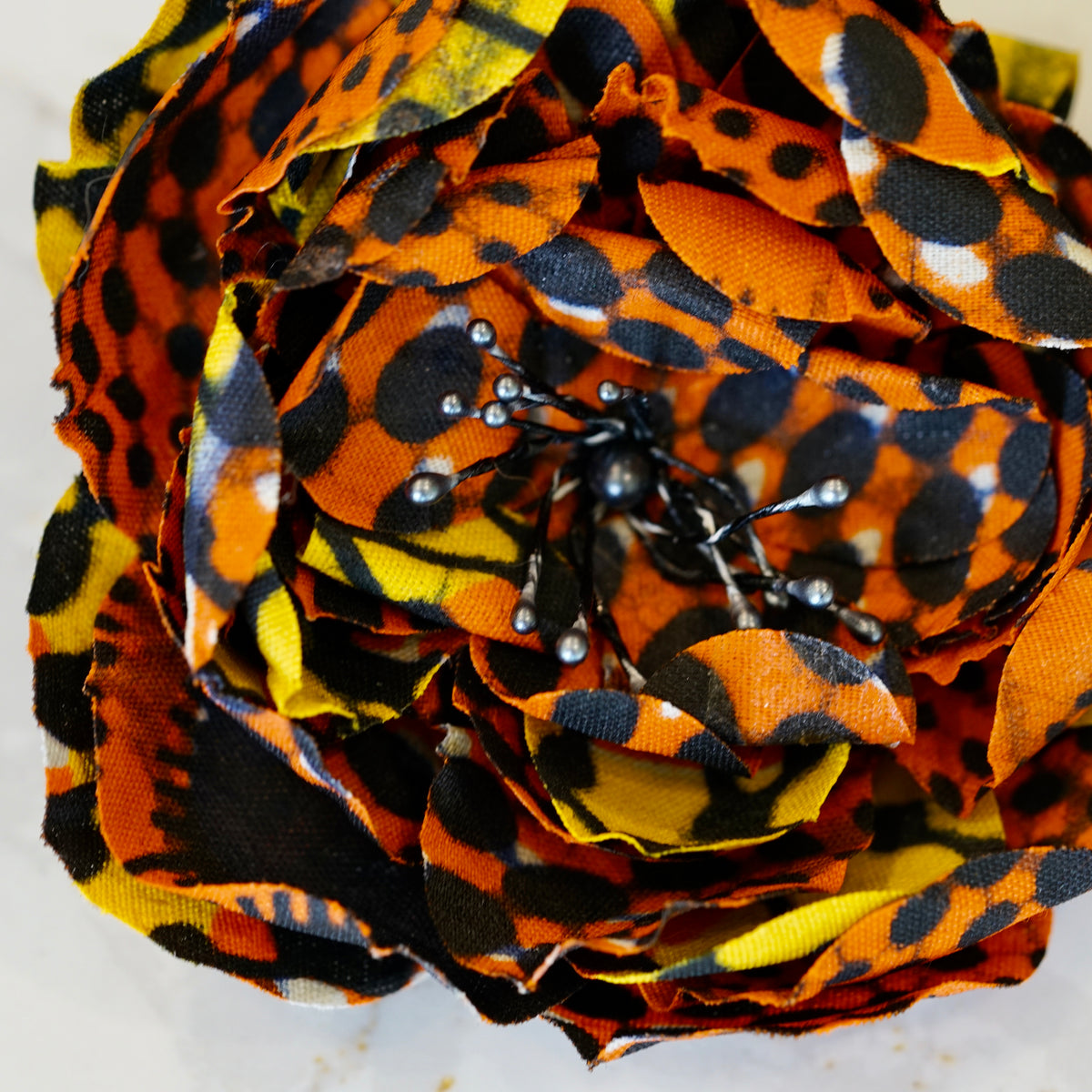 Orange, Black, and Yellow African Print Bloom Hair Flower