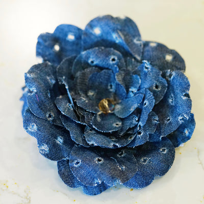 Perforated Eyelet Denim Camellia Hair Flower