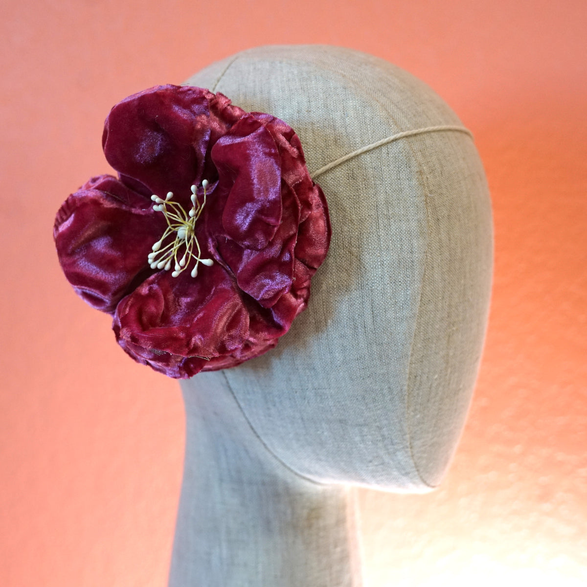 Pink Velvet Wild Rose Flower Hair Clip