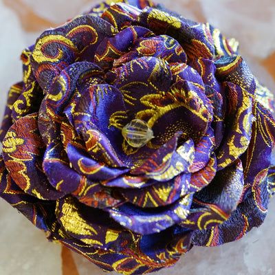 Purple and Gold Silk Chinese Brocade Hair Flower