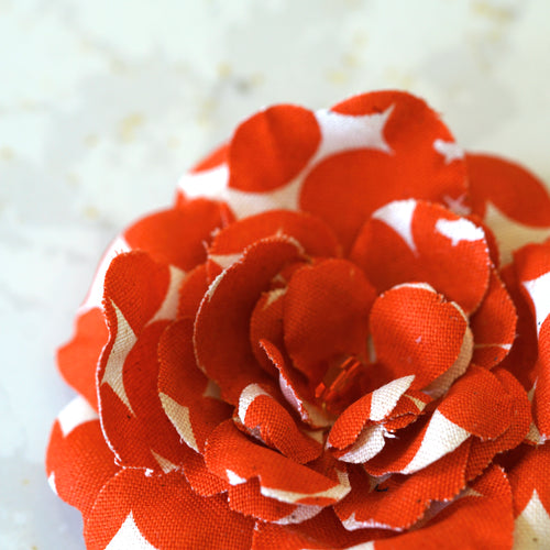 Red Orange and White Premium Cotton Camellia Hair Flower