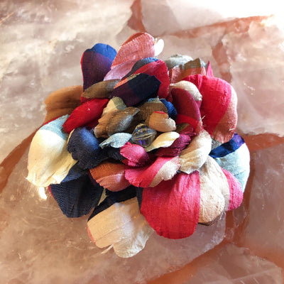 Red, White, and Blue Gingham Silk Print Camellia Hair Flower