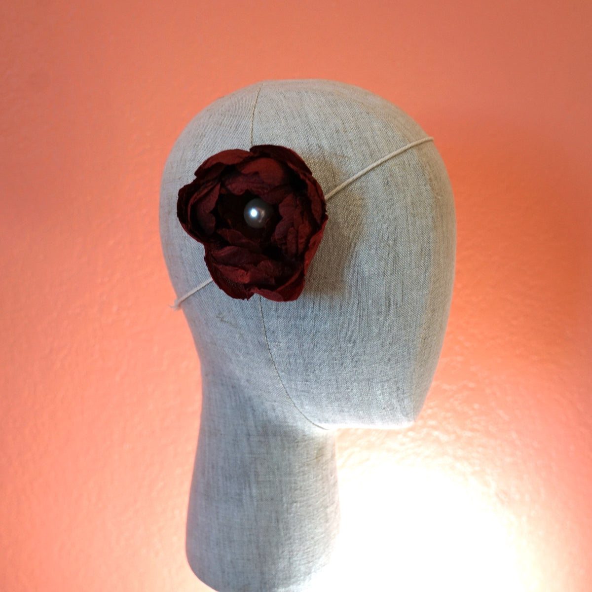 Red Silk Hair Accessory Hair Flower