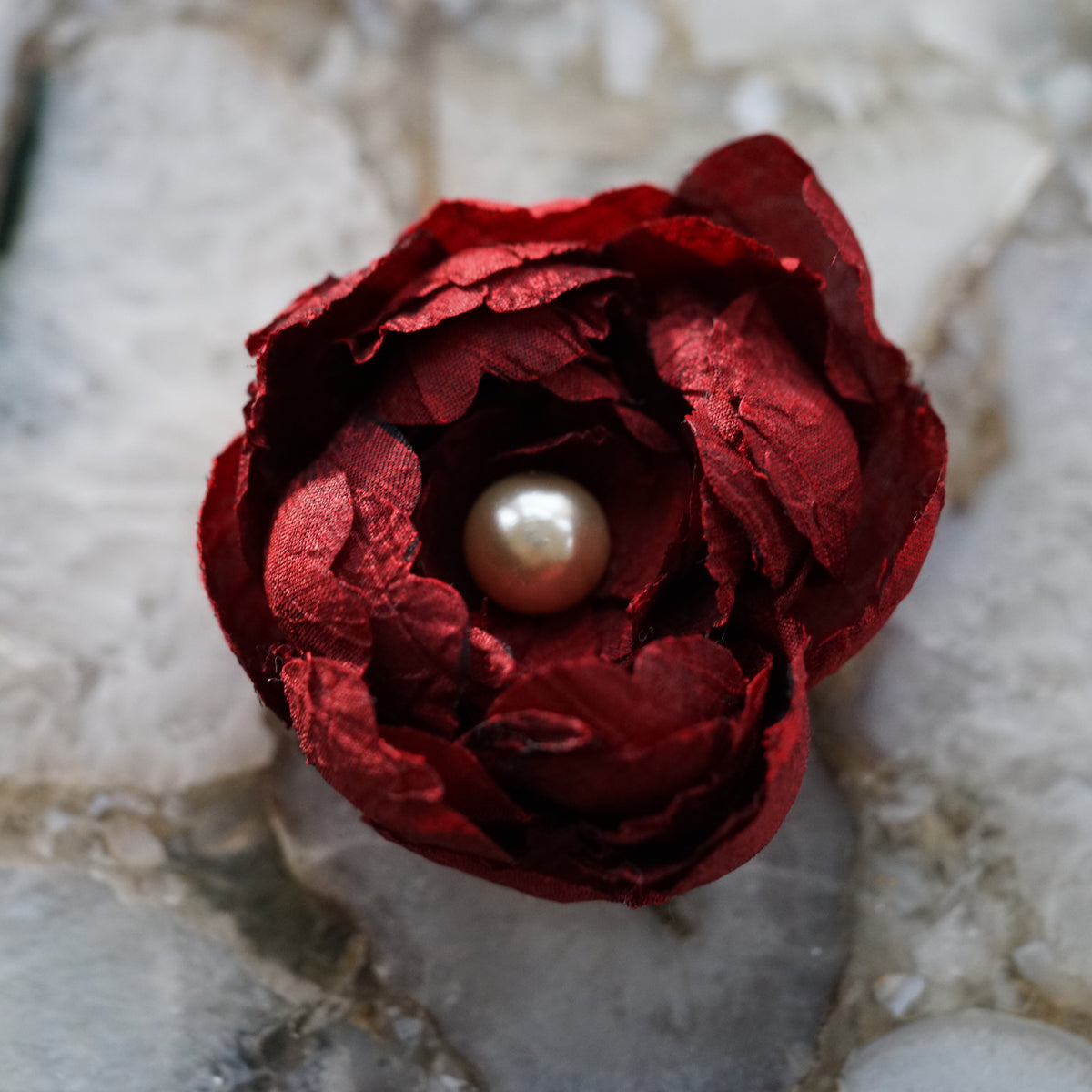 Red Christmas Hair Flower Clip