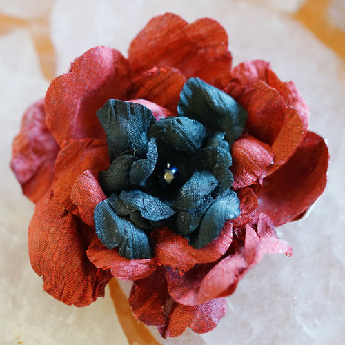 Red and Black Silk Camellia Hair Flower