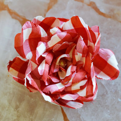 Red and White Gingham Silk Camellia Hair Flower