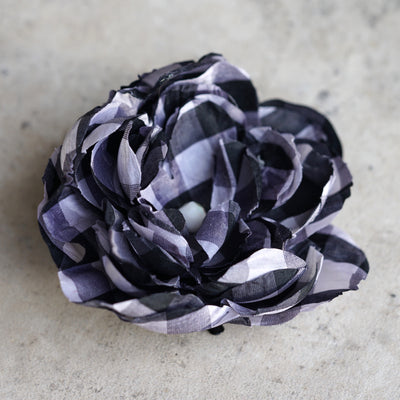 Black and White Plaid Silk Bloom Hair Flower