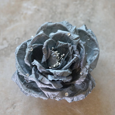 Silver Silk Rose Swarovski Bloom Hair Flower