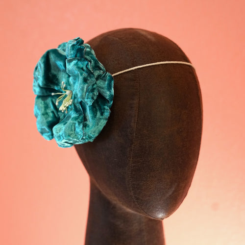 Green Velvet Flower Hair Clip