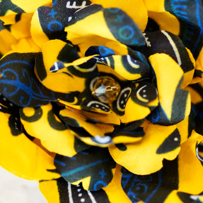 Yellow and Blue African Print Camellia Hair Flower