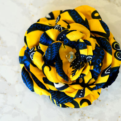 Yellow and Blue African Print Cotton Bloom