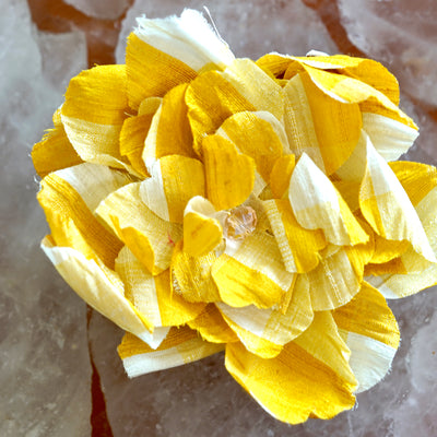 Yellow and White Gingham Camellia Hair Flower