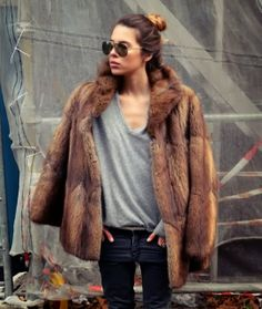 classic faux fur jacket with jeans