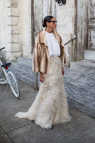 faux fur jacket with maxi skirt fashion week