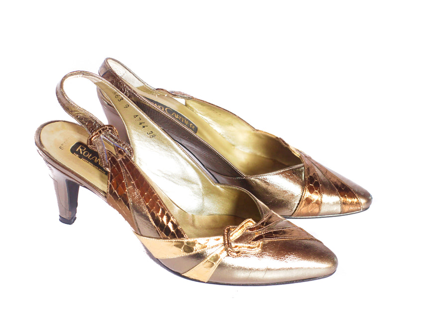 Vintage 1970s gold stiletto heels UK 5