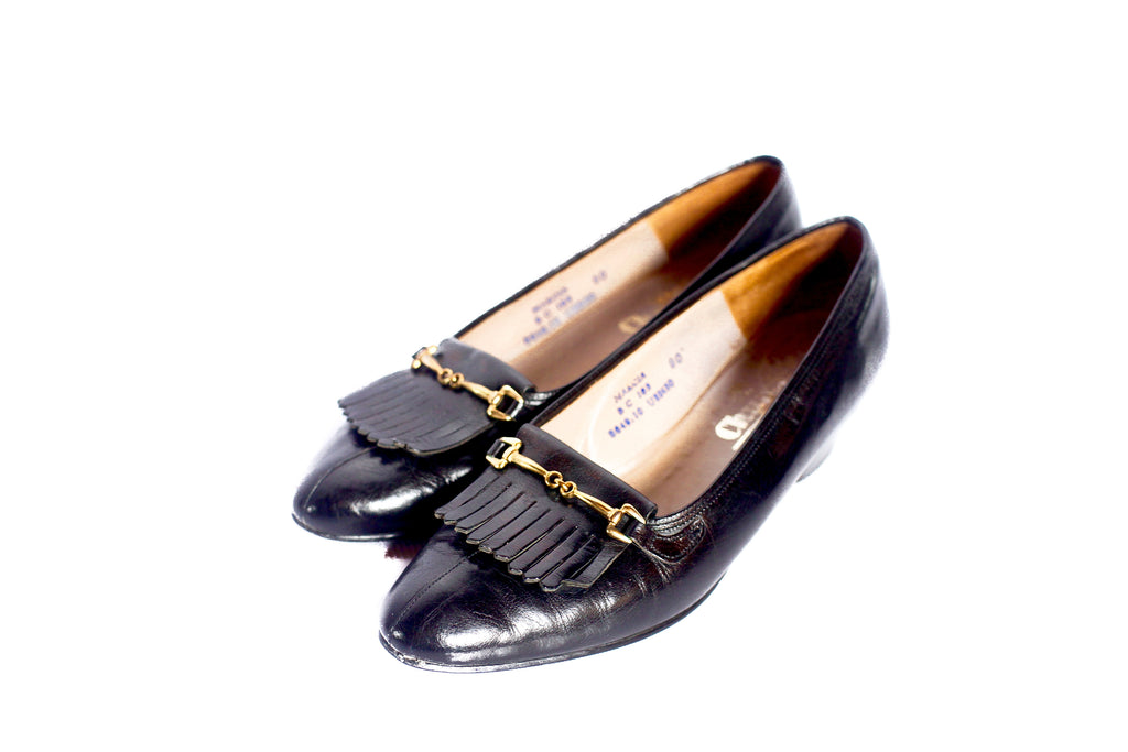Vintage Church's black leather loafers UK 7