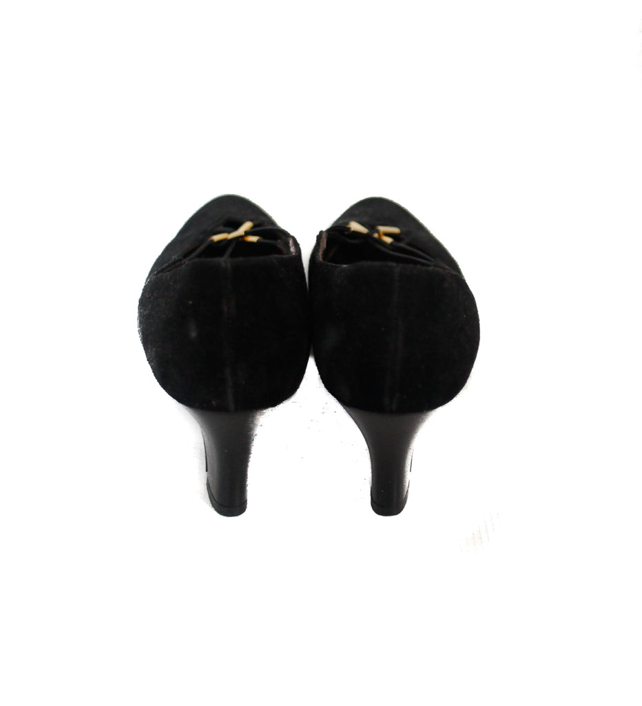 UK 3 80s black suede heels