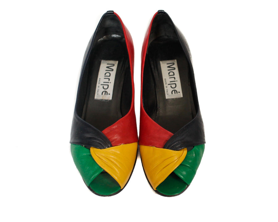 UK 5 80s multi coloured peep toes shoes