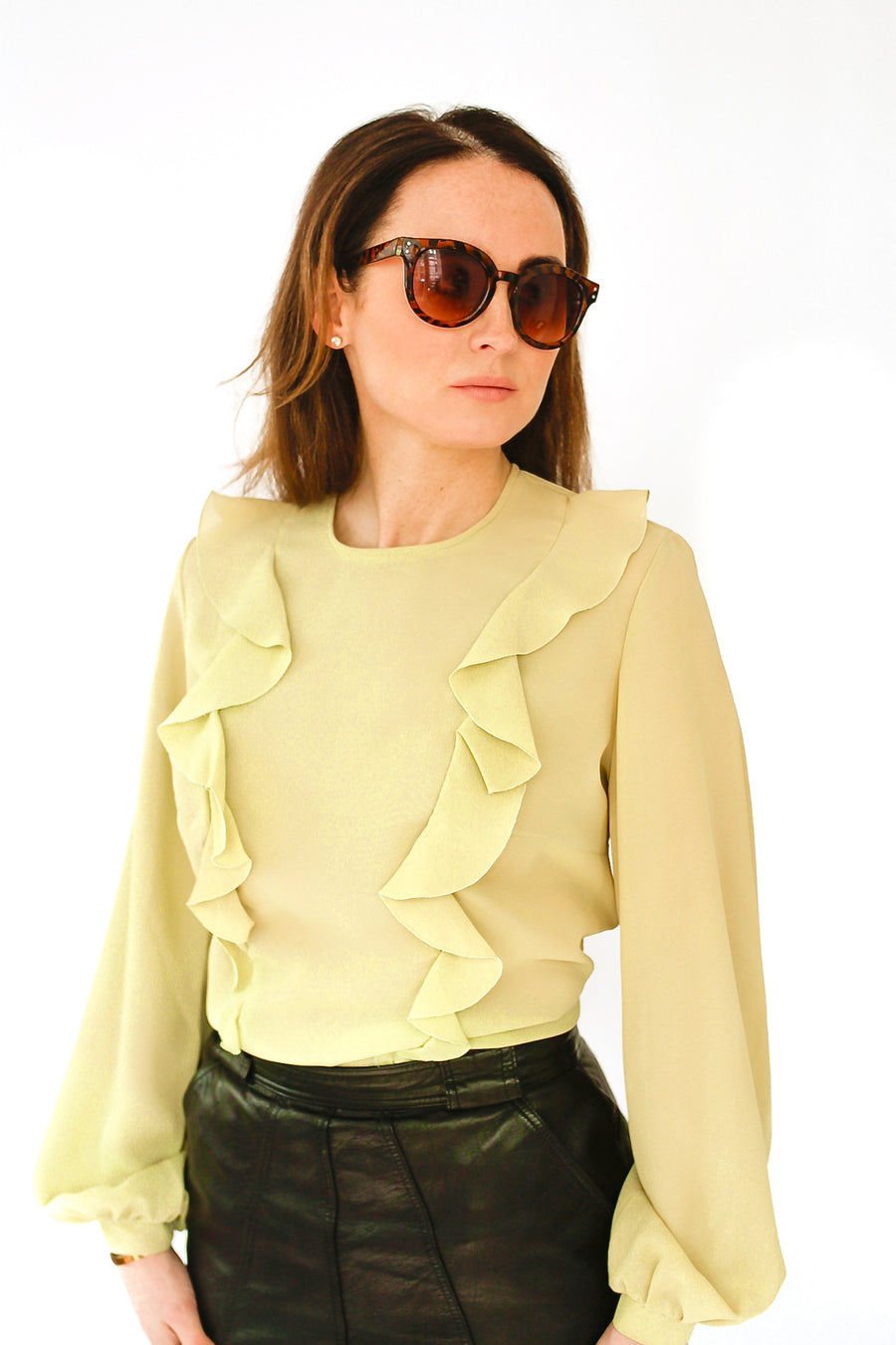 Vintage 70s lime green button back blouse