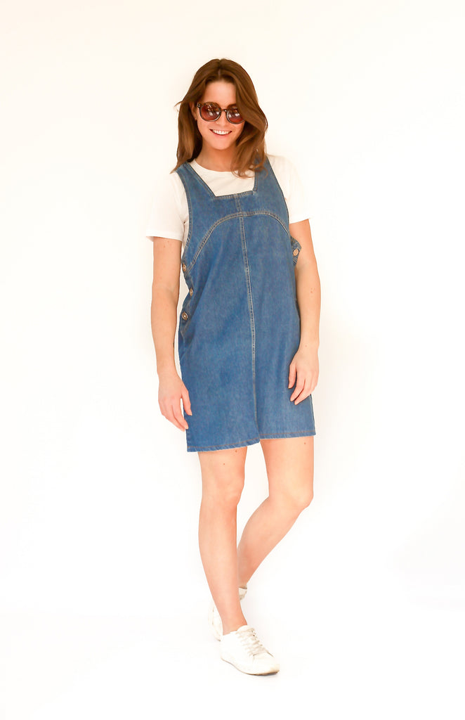 Vintage 90s denim dungaree dress