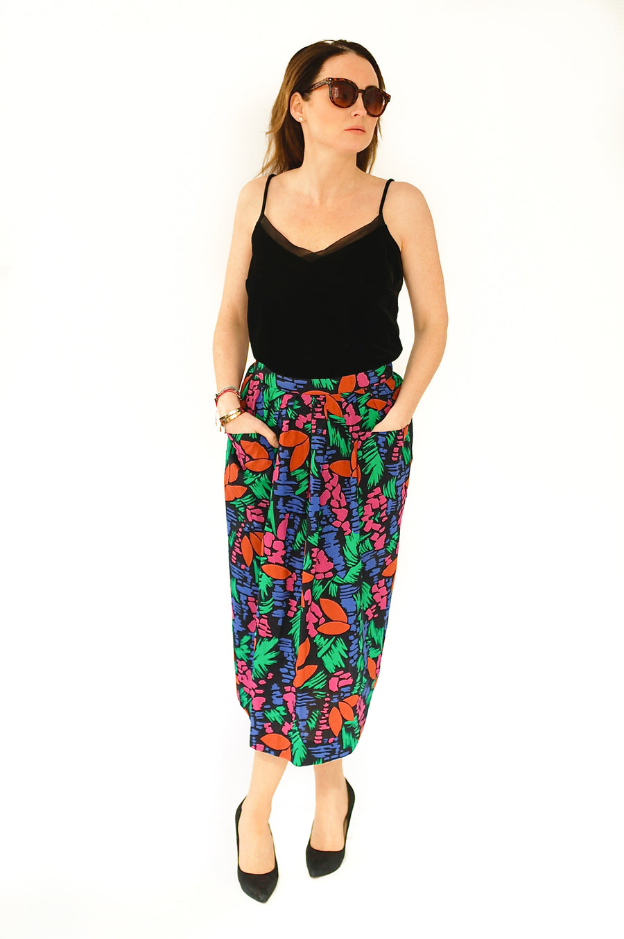 1970s vintage multi colour floral skirt