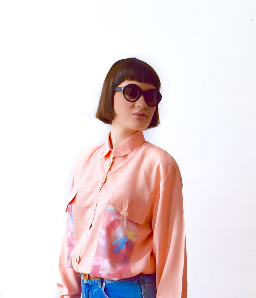 Vintage 1980s peach abstract print shirt