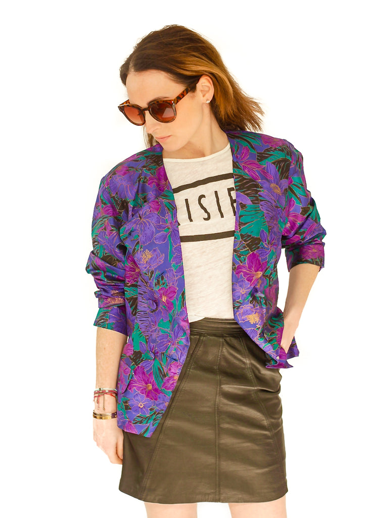 Vintage multi coloured abstract print jacket 10 or small 12