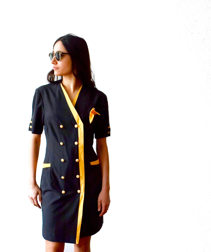 Vintage 1960s black mod dress