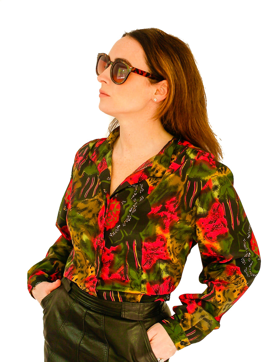 Vintage 1970s abstract print mandarin neck blouse