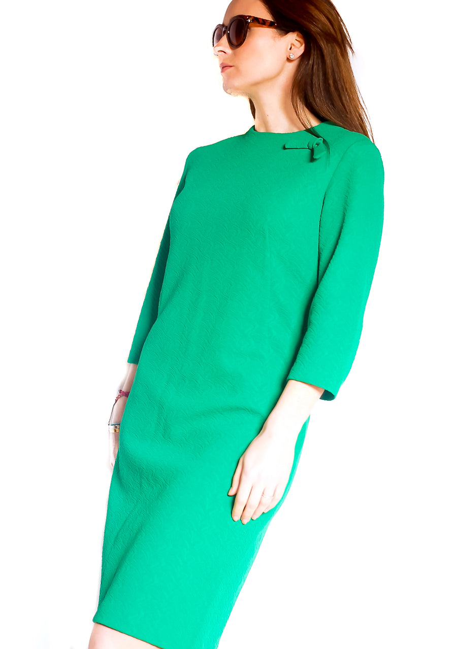Vintage 1960s green crimplene mod dress