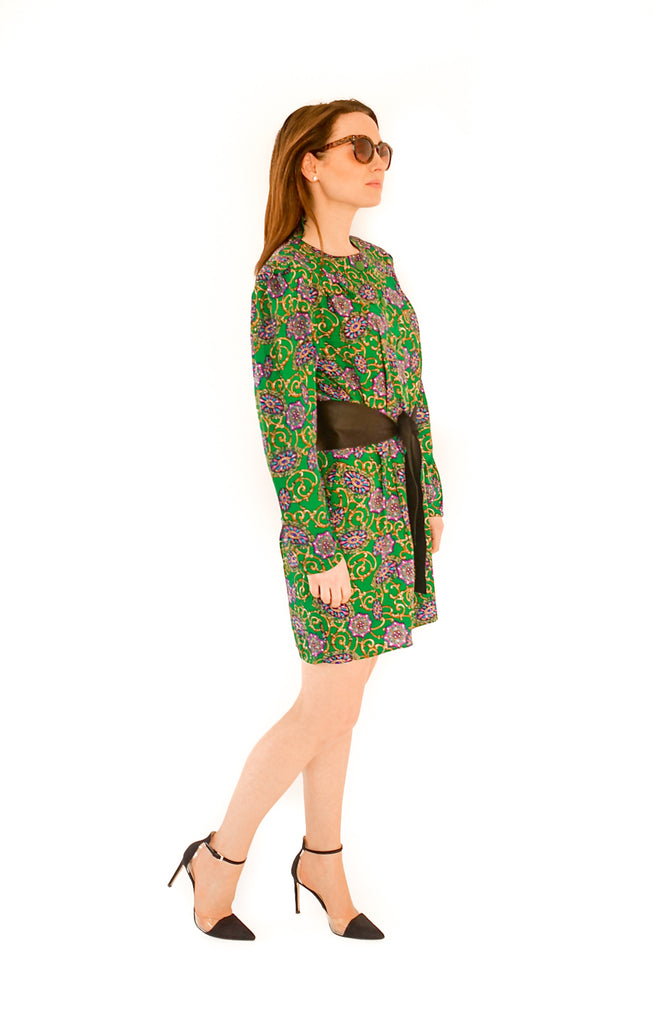 Vintage 1970s silk paisley mini dress